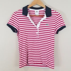 Lacoste🐊 Polo Red White and Blue Striped Polo 36